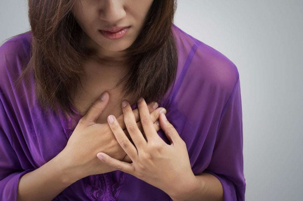 Woman with chest pain.